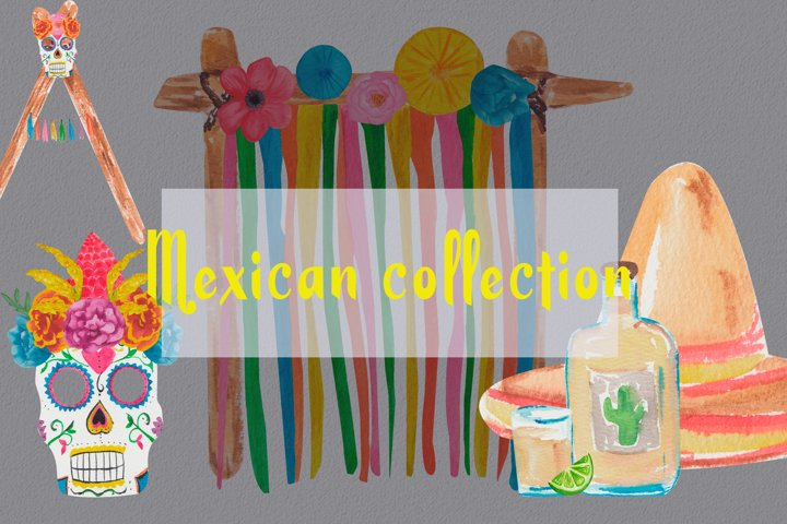 Mexican decoration party clipart. Fiesta watercolor