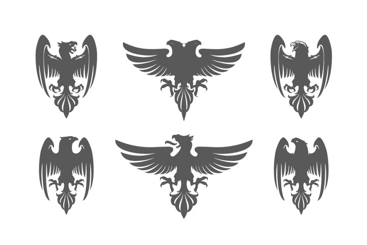 Set of heraldic eagles