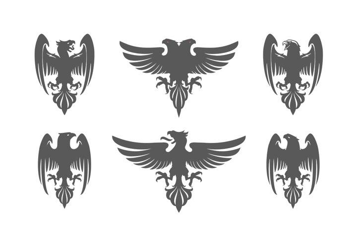 Set of heraldic eagles