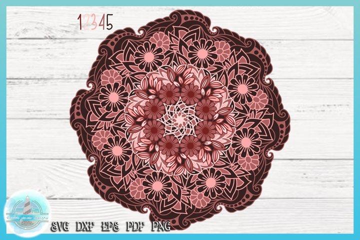 3D SVG Layered Design | Flower Mandala SVG file