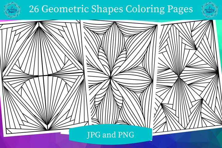 26 Geometric Lines Shapes Printable Coloring Pages