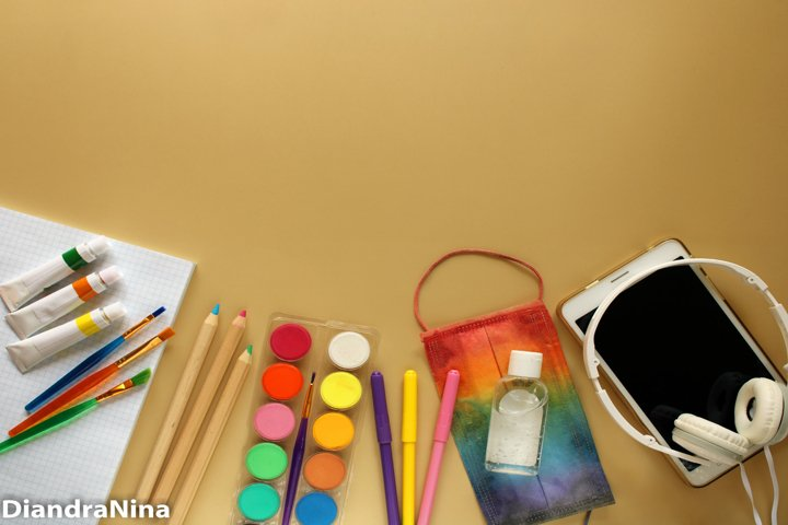 Back to school and protection against COVID-19 flat lay