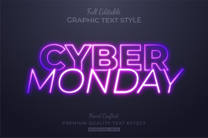 Cyber Monday Editable 3D Text Style Effect Premium