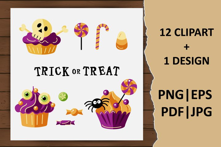 Cute Halloween cupcakes and candies clipart. Trick or Treat
