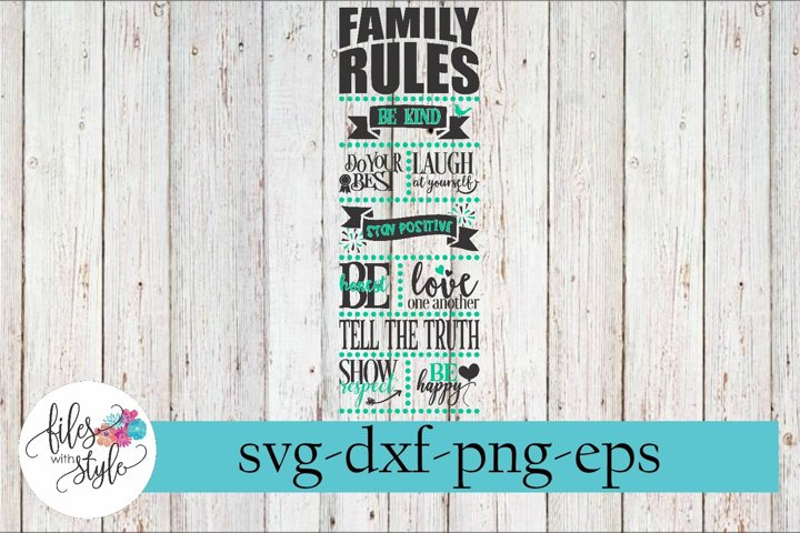Family Rules Wood Sign Making SVG Cutting File