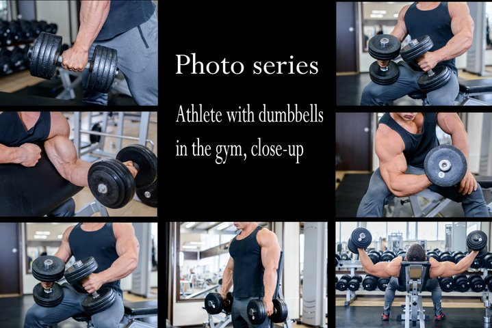 Athlete with dumbbells in the gym
