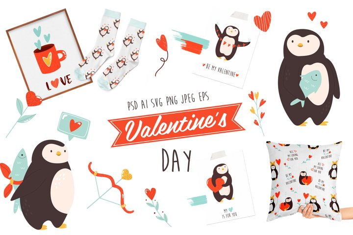 Valentines Penguines, Romantic Animals. Big Set