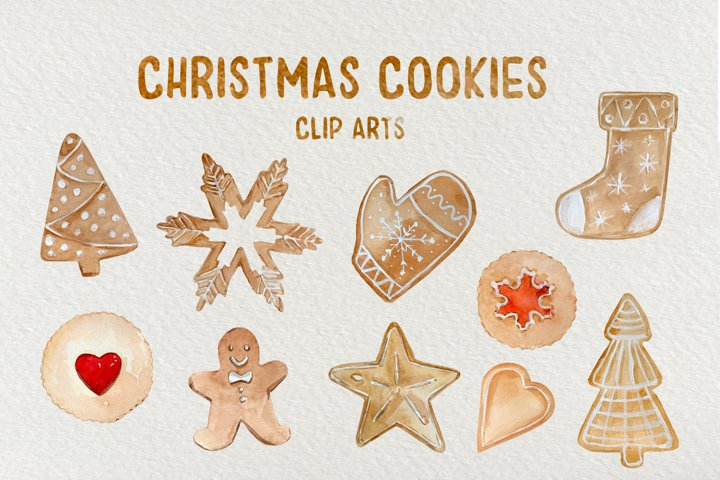 Christmas Cookies - Watercolor Clip Art Set and Patterns