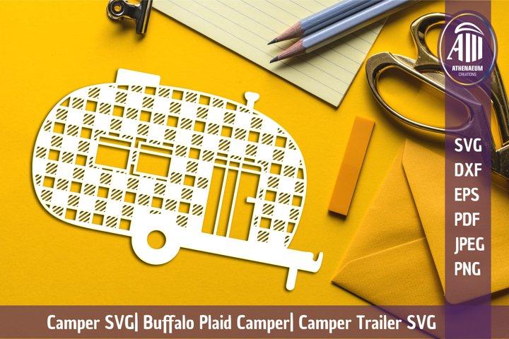 Papercut Camper SVG| Buffalo Plaid Camper| Camper Cut Files