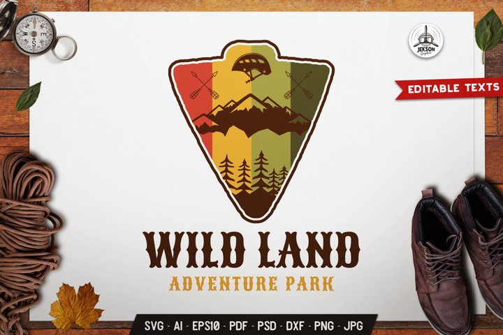 Outdoor Adventure Logo Template SVG Camping Travel DXF PNG