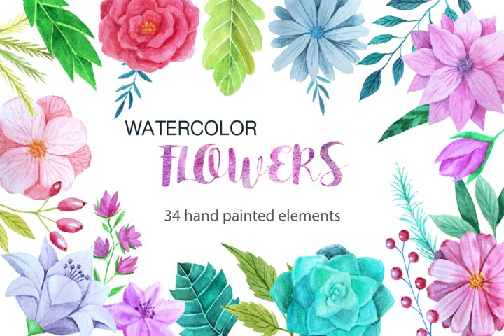 Watercolor Flower Pack example