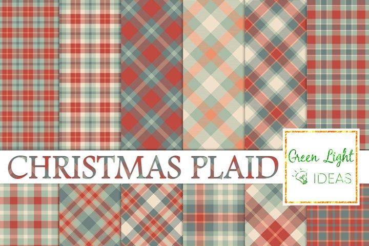 Christmas Plaid Digital Papers, Tartan Christmas Backgrounds
