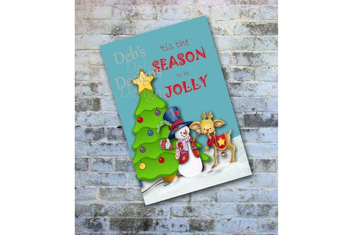 Digital Snowman Christmas Card, Printable Digital Christmas Card, Photo Christmas Card, Personalized Christmas Card, Happy Holidays Card