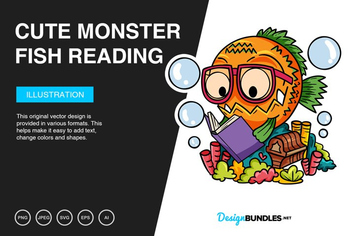 Cute Monster Fish Reading Vector Illustration