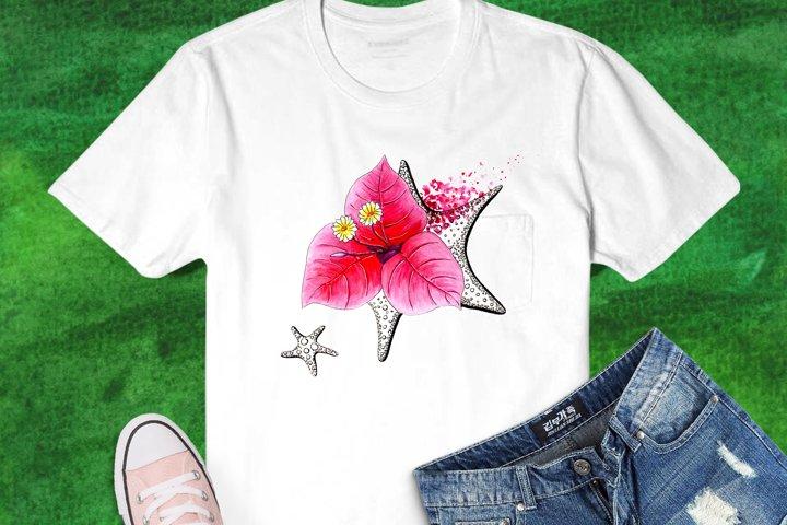 Bougainvillea and Sea Stars Watercolor Sublimation Design