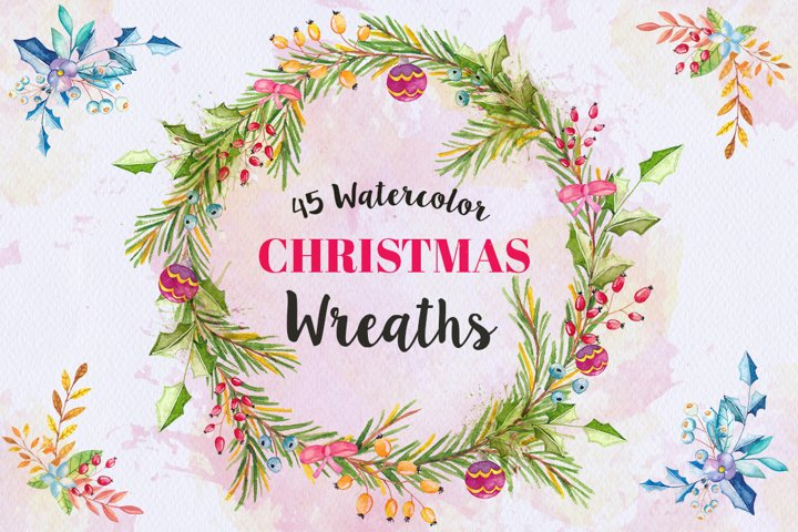 45 Watercolor Christmas wreaths clipart