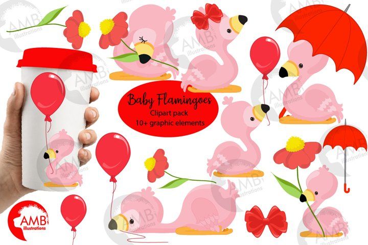 Cute Baby Flamingoes clipart pack AMB-2631