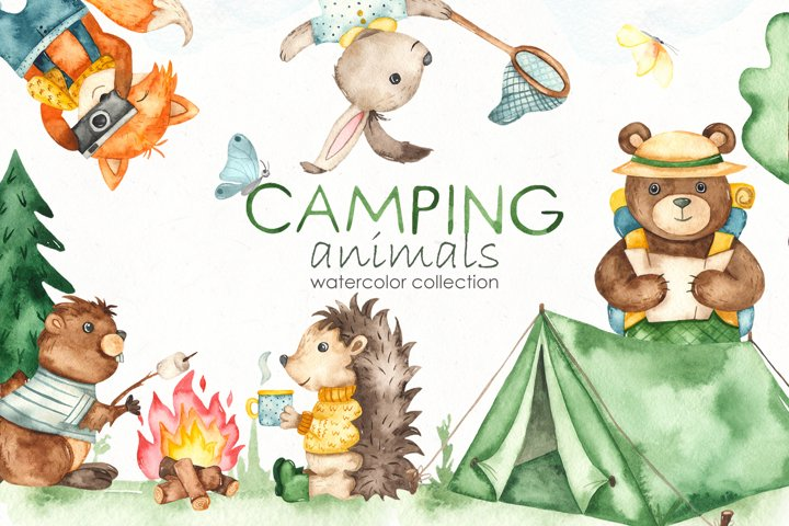 Camping animals Watercolor Clipart, cards, seamless patterns