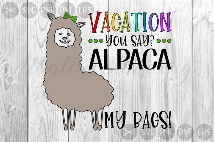 Vacation, Alpaca, Summer, Trip, Bags, Cut File, SVG, PNG