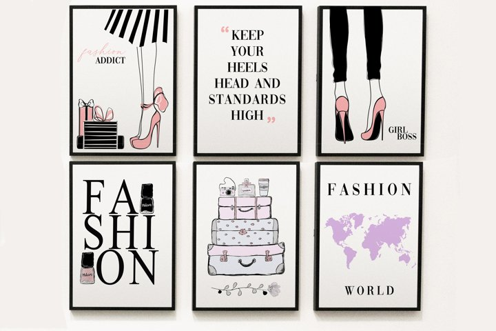 Fashion set wall art, printable wall art for girls