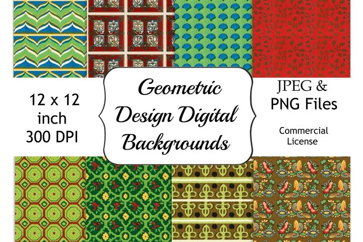 Retro Geometric Digital Patterns, 12 x 12 Digital Paper Pack