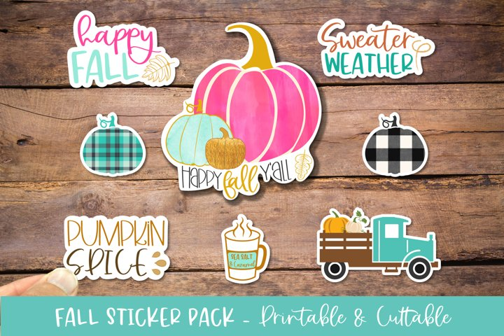 Fall Sticker Bundle 7 Pack - Printable Cuttable PNG