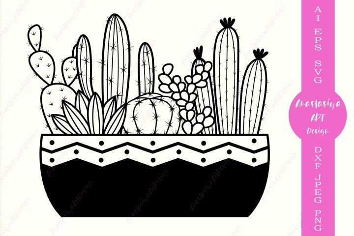 Succulent svg, Monogram cactus svg, House plant dxf