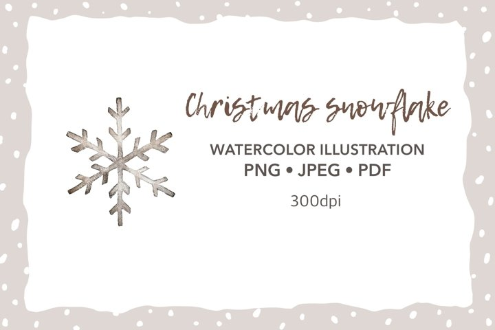 Christmas snowflake Watercolor clipart Sublimation