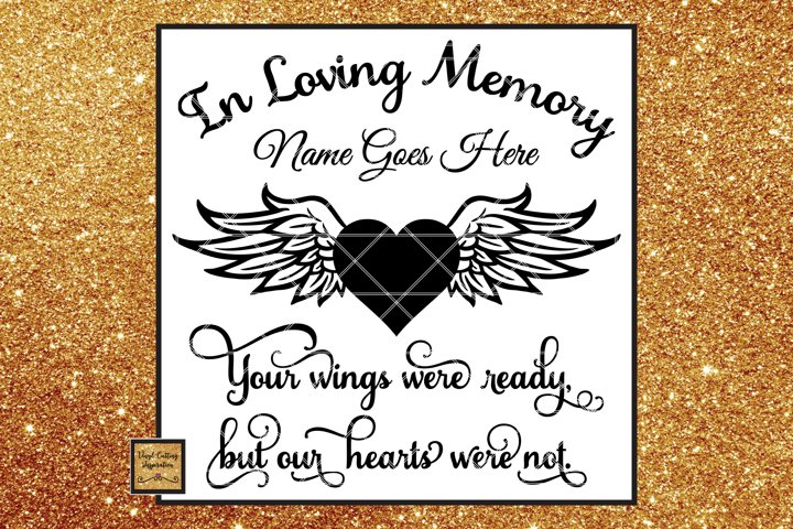 In Loving Memory Svg, Angel Wings Svg, Heart Svg, Sympathy