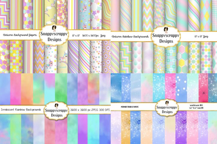 Rainbows & Iridescent Background Papers Bundle