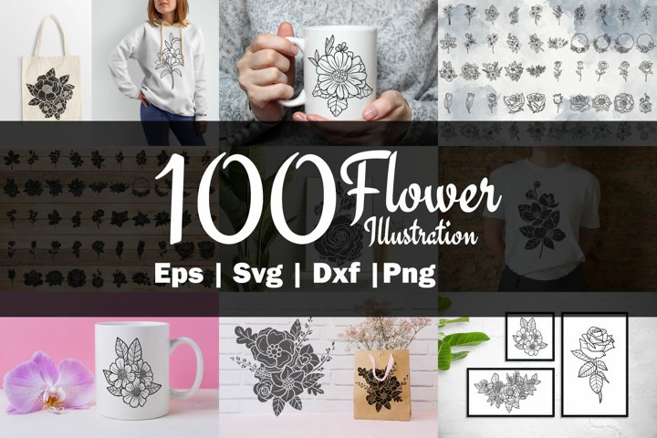 100 flower SVG cutting crafts