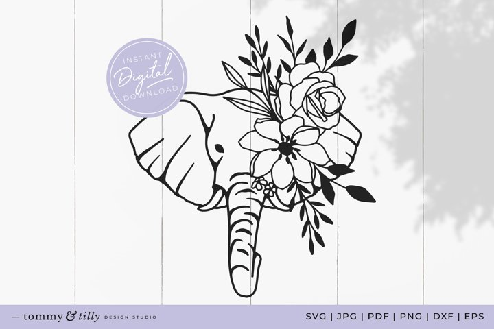 Flower Elephant No.1 SVG Cut File for Cricut and Silhouette