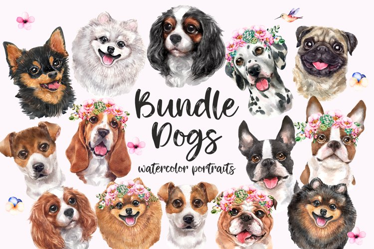 Watercolor dog portrait budle, dog clipart, dog in wreath