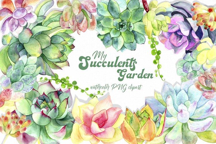 Succulent clipart / Watercolor succulent wreath / Floral png