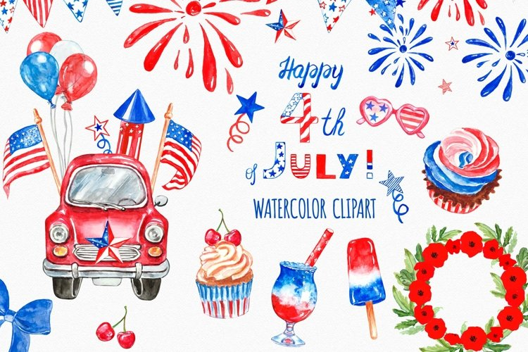 4th of July clipart Watercolor Patriotic car truck USA