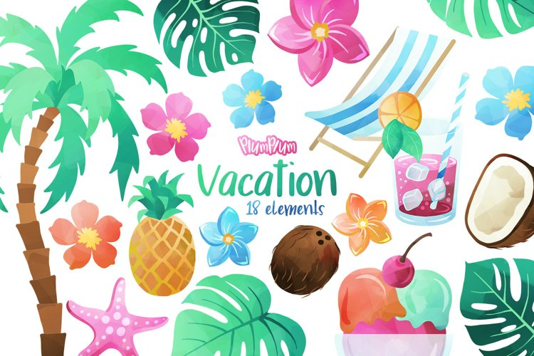 Vacation Watercolor Cliparts example image 1