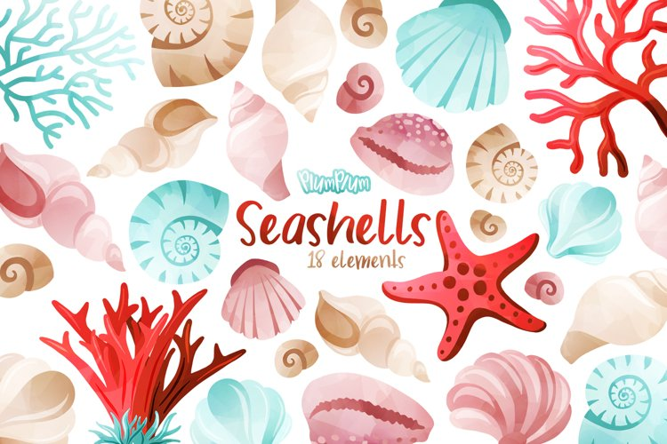 Seashells Watercolor Cliparts example image 1