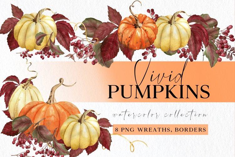 Watercolor pumpkin borders, corners, half wreath clipart set