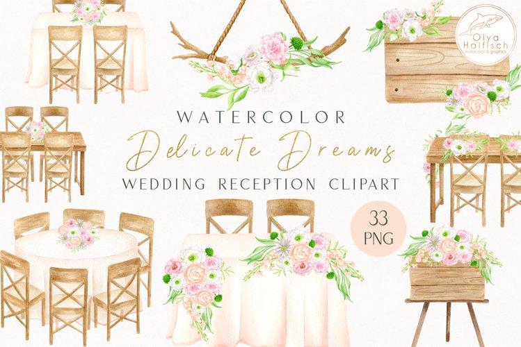 Wedding Reception Watercolor Clipart. Wedding Party PNG set