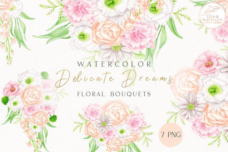 Watercolor Bouquets Clipart. Wedding Flower Arrangements PNG