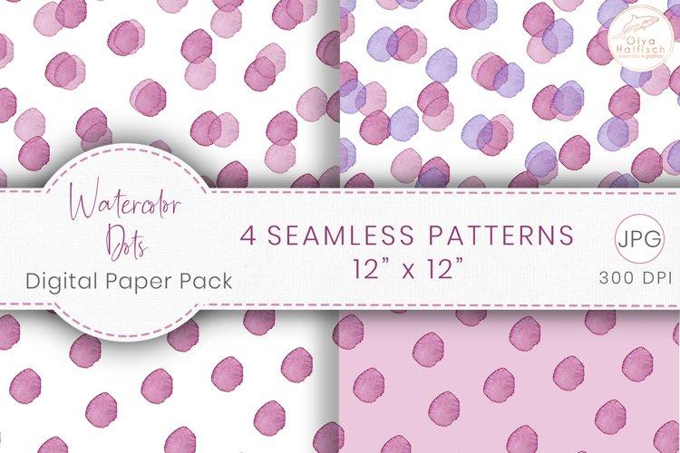 Watercolor Dots Digital Paper. Pink Seamless Patterns JPG