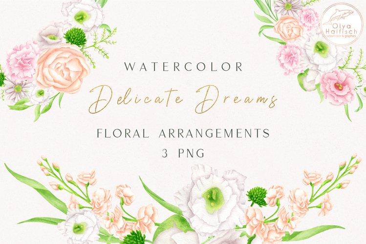 Watercolor Flower Arrangements. White and Blush Bouquets PNG