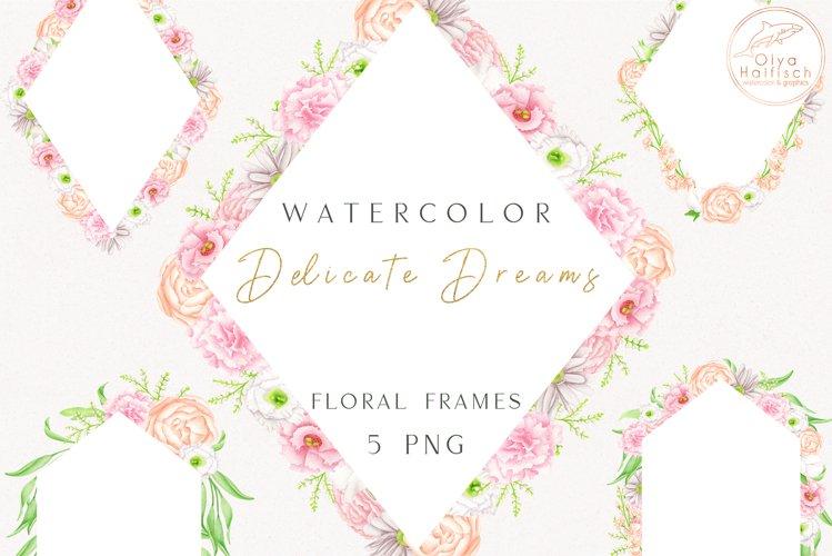 Watercolor Flower Frames PNG. Floral Borders Clipart Set