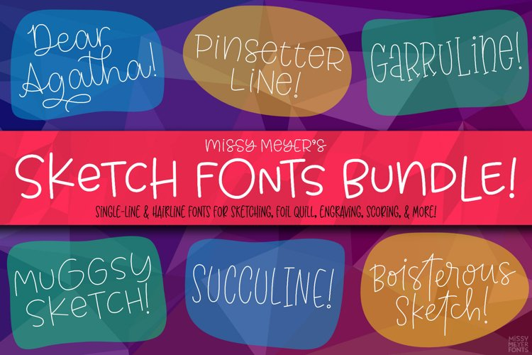 Sketch Font Bundle: single-line and hairline by Missy Meyer! example image 1