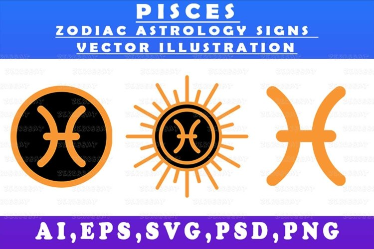 pisces zodiac astrology signs vector illustration graphic
