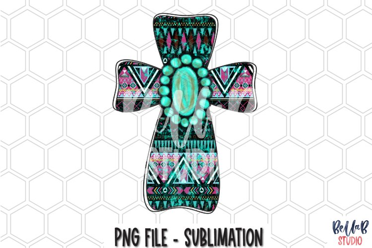 Tribal Aztec Cross Turquoise Gem Sublimation Design