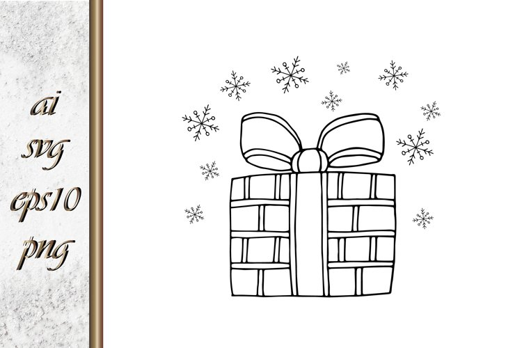 Doodle gift with bow Sketch vector example image 1