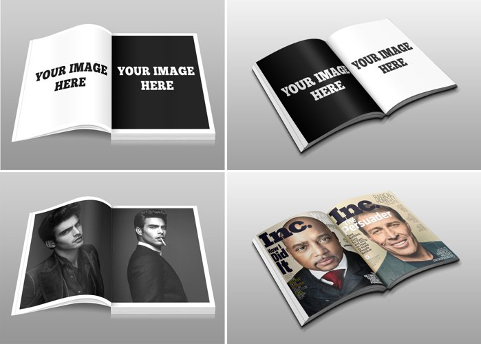 Double page mockups for your designs