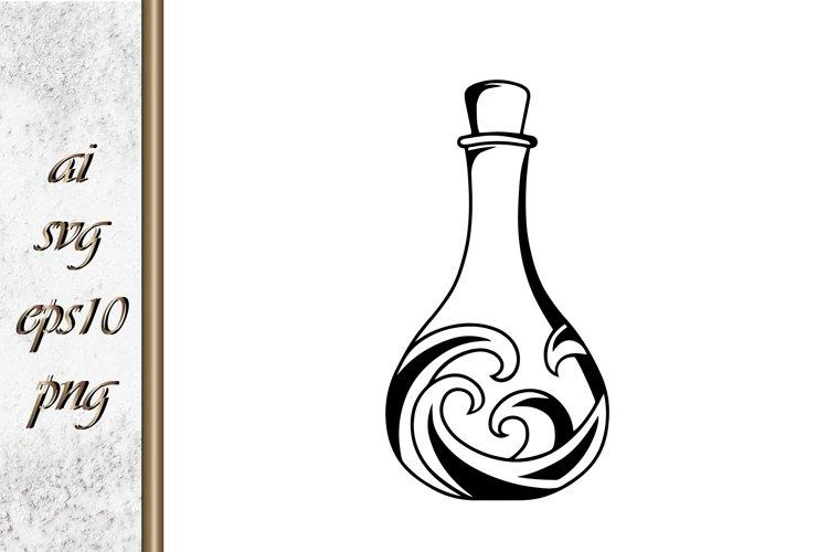 Sketch wine bottle vector