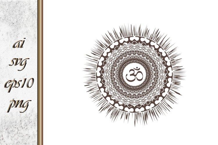 Mandala sun with oum Boho Sketch